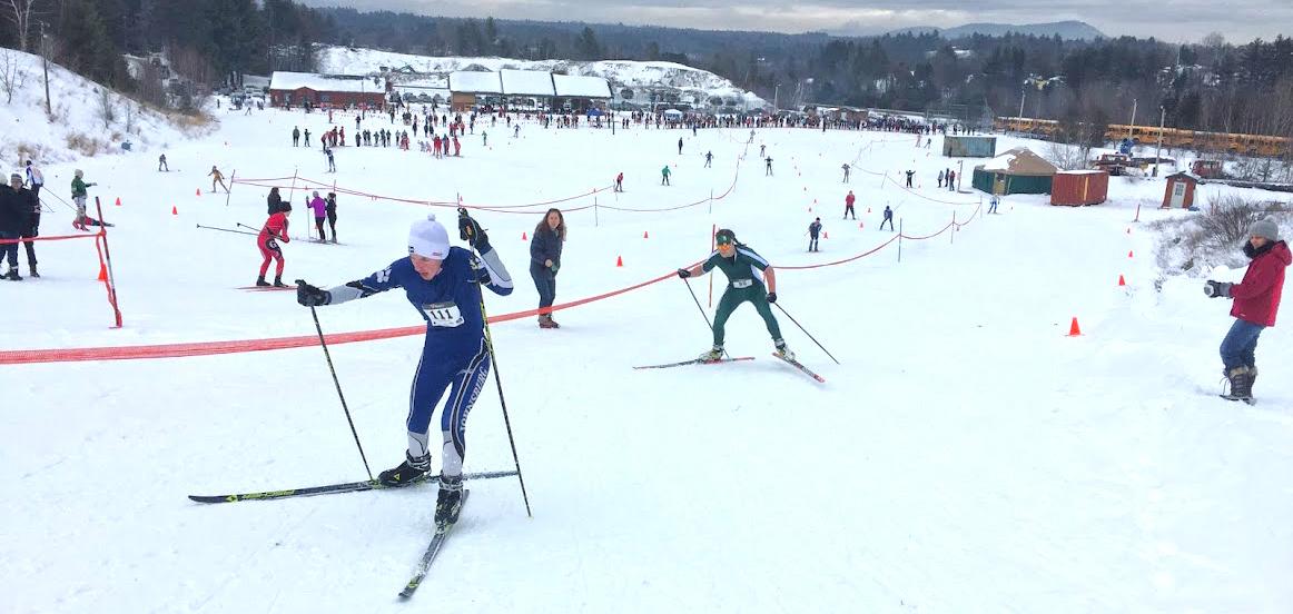 William Davis of Johnsburg and crowds at the North Creek Ski Bowl.   Darryl Caron