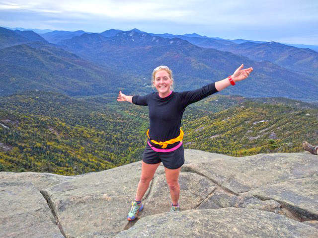 US Biathlon 'A' team member Maddie Phaneuf hiking in the Adirondacks this fall.