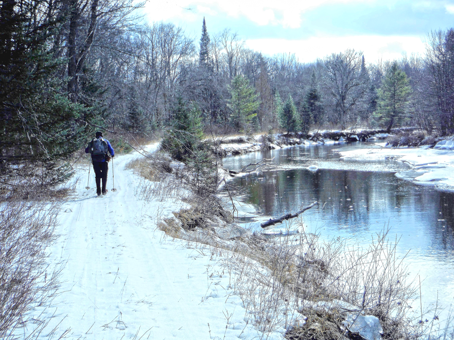 Skiing alongside the Opalescent   River in the MacIntyre East tract.   Rich Macha