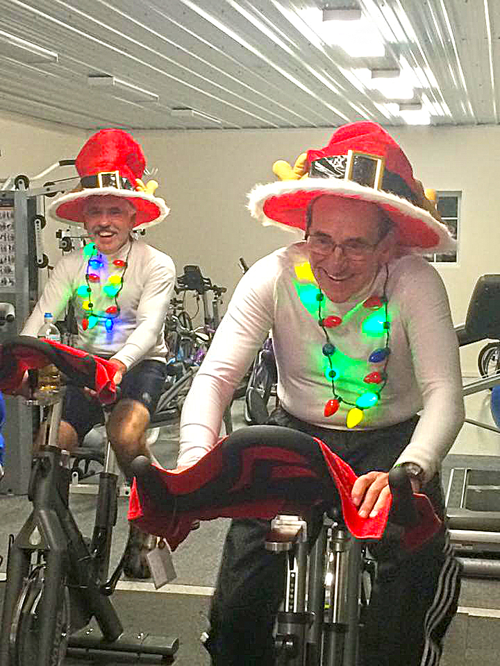Lansing brothers holiday spinning at Tomhannock Bicycles.