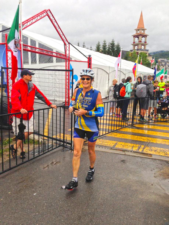 Bike-run transition at 2016 Ironman Mont-Tremblant.