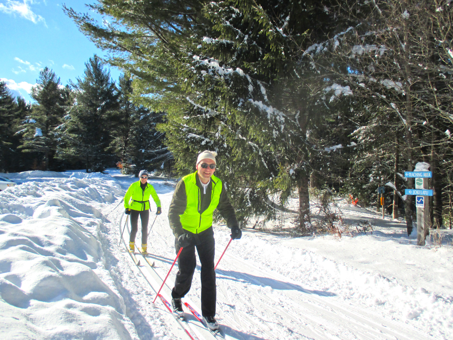 Happy skiers on New Year's Day with groomed powder conditions at Lapland Lake Nordic Vacation Center in Benson.  Paul Zahray