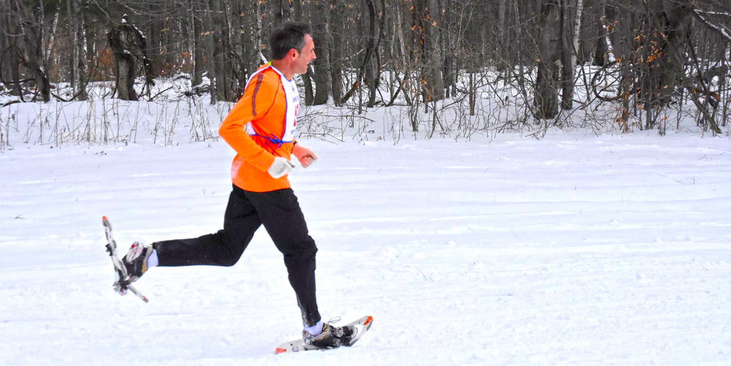 Tim Van Orden with Dion   Snowshoes winning   Hilltop Hollow 5K   Race, January 2.    Kayla Dzikowicz