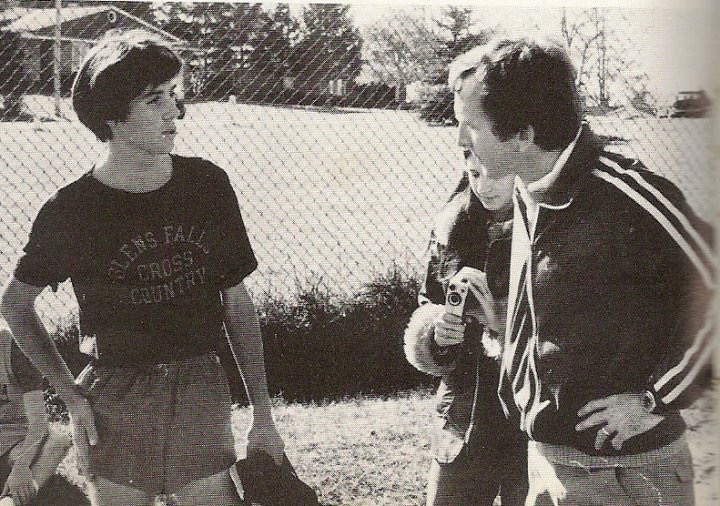 Glens Falls High School coach Bill Parks with student Doug Gaulin after a sectional victory at Central Park in Schenectady in 1977.