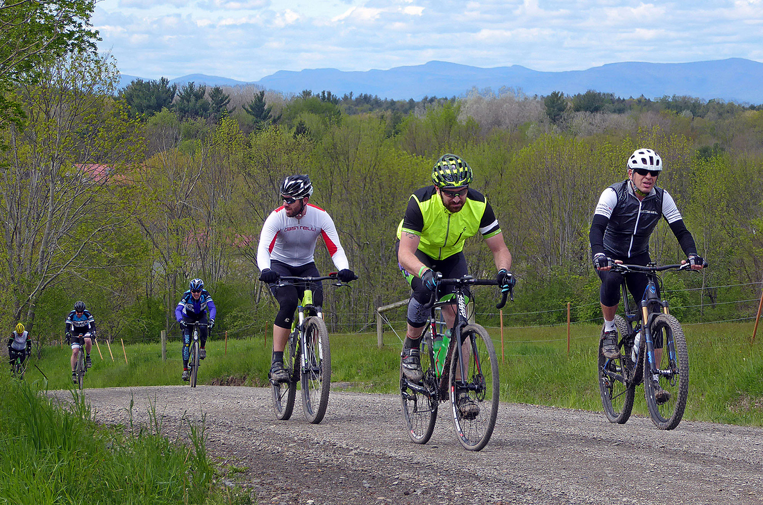 Riders on Jefferson Hill Road at the 2016 Farmer's Daughter Gravel Grinder.  Dave Kraus
