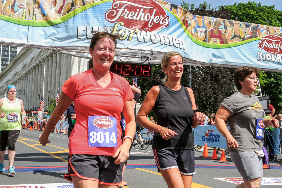 All smiles at the finish line of the 2016 Freihofer's Run for Women. Kevin Morris