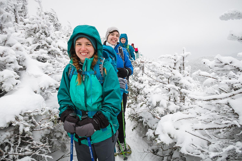 Megan McLaughlin descending her first Winter high peak.  Photo by Stephanie Graudons
