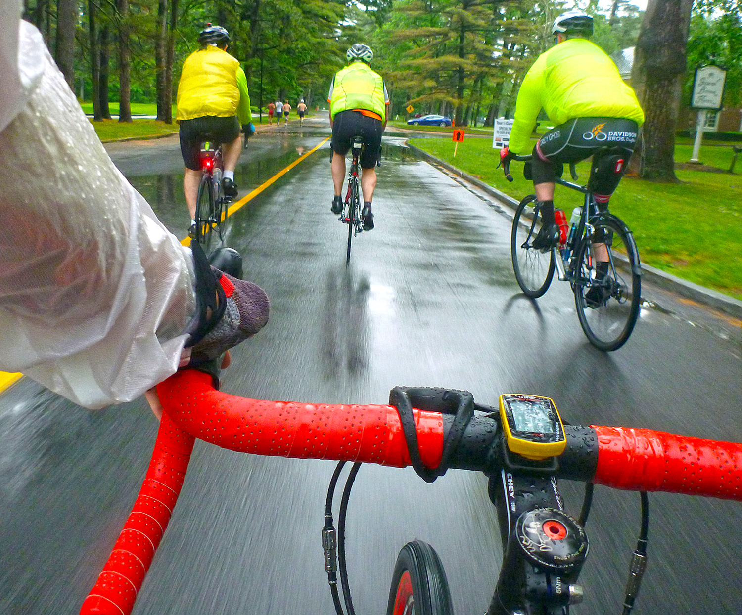 Bright, visible clothing is an important safety item, especially when riding in bad weather. These riders were riding in the Tour de Cure.  Dave Kraus