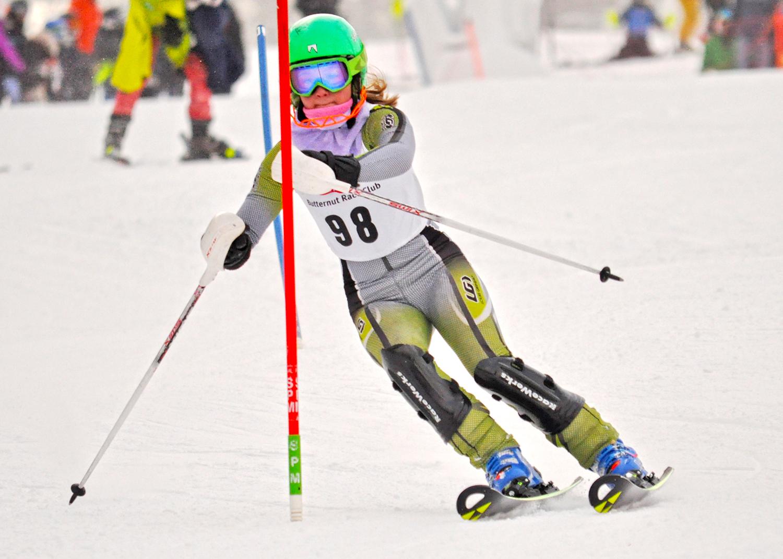 Ruby skiing slalom   at Ski Butternut,  January 8.  Beignyreih Person