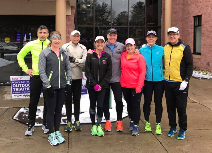 Clifton Park Pacers spring training run at the Southern Saratoga YMCA.  Cece Sinnott-Lynch