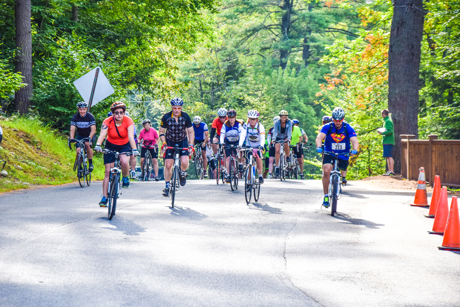 Cyclists start the 2016 Camp Challenge Ride 30-miler in Lake Luzerne.  Double H Ranch