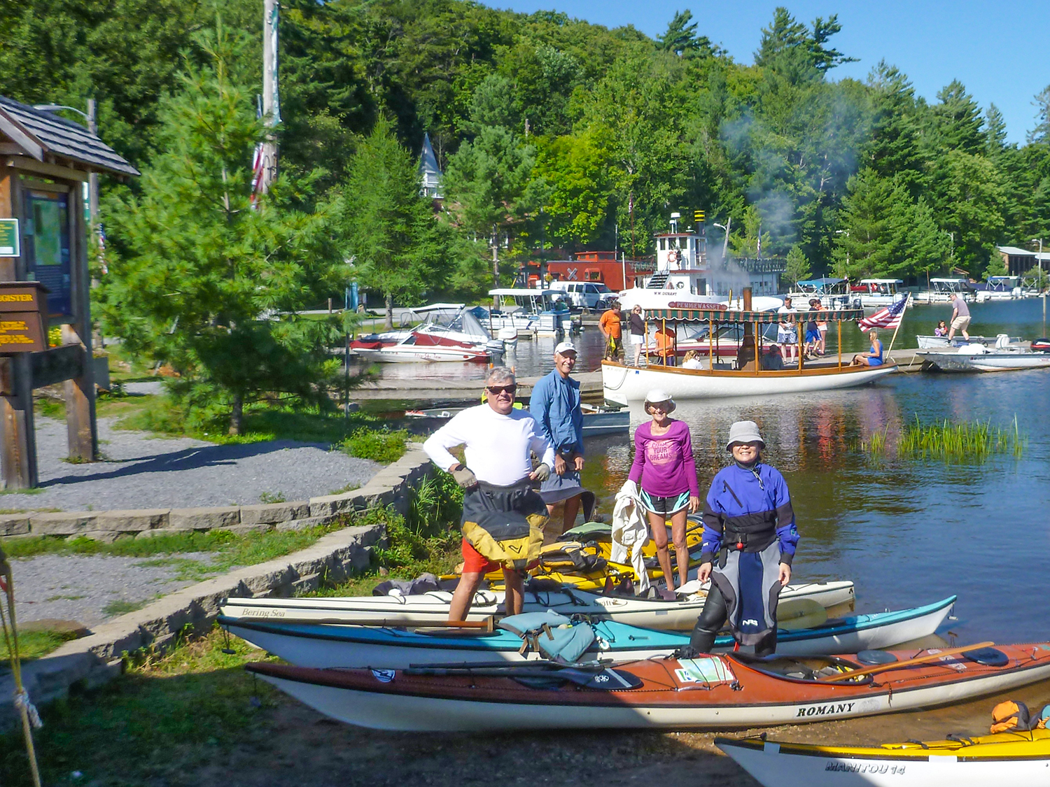 Landing at Raquette Lake Village with steam launches and the W. W. Durant cruise boat in the background.   Alan Mapes