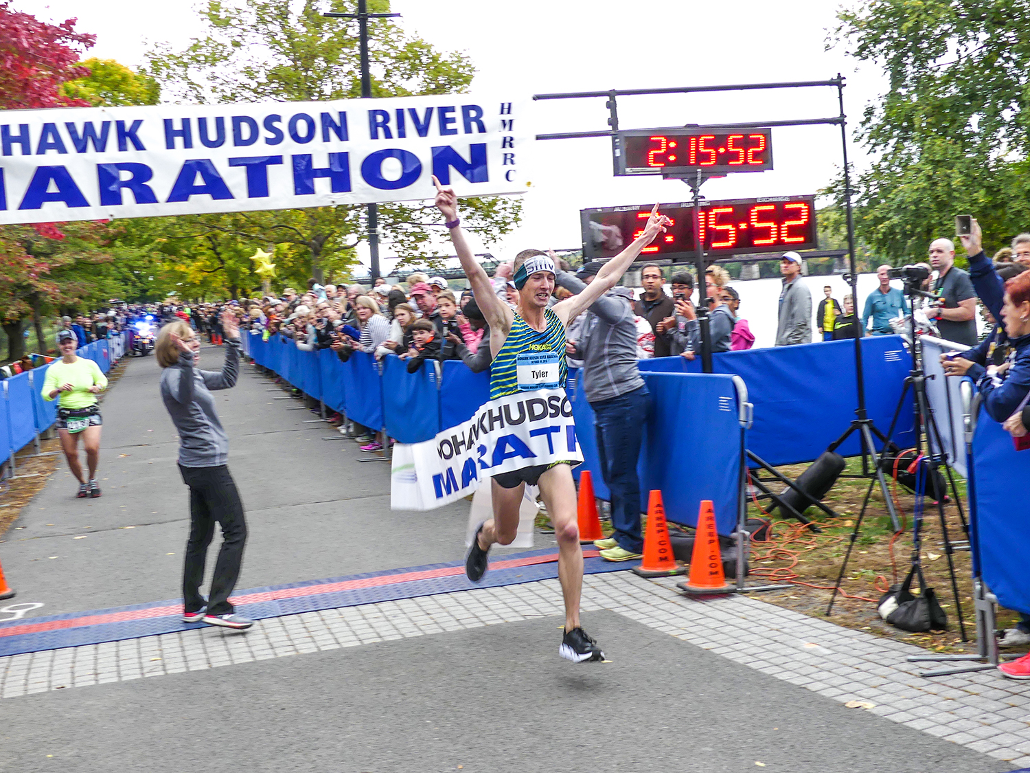 Tyler Andrews wins the 2016 marathon and breaks the course record.  Charles Bishop