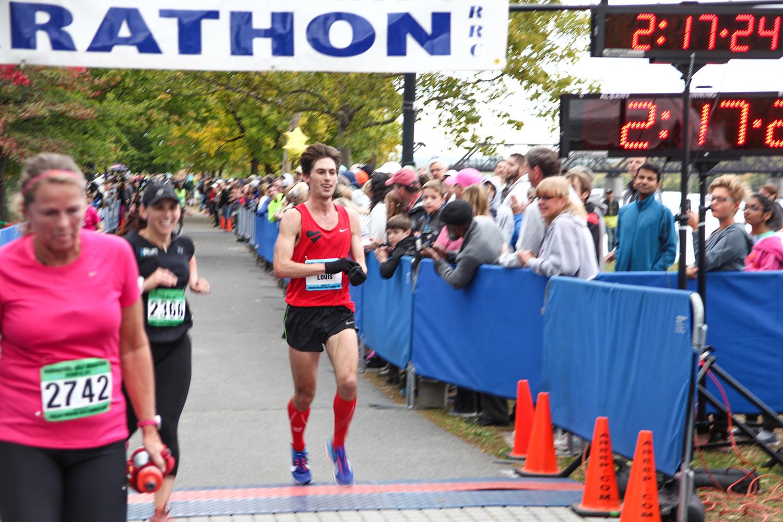 Lou Serafini finishing second at last year's Mohawk Hudson River Marathon.  Charles Bishop