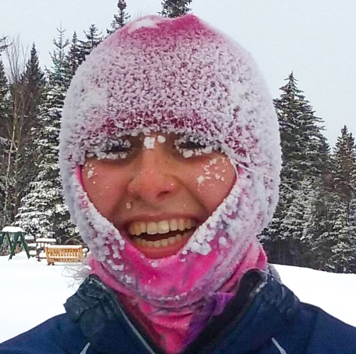 From out of Mt. Van Ho's frosty tundra, called Porter Mountain, came this happy skier, Elizabeth Izzo, on the blustery morning of Jan. 6!  ORDA