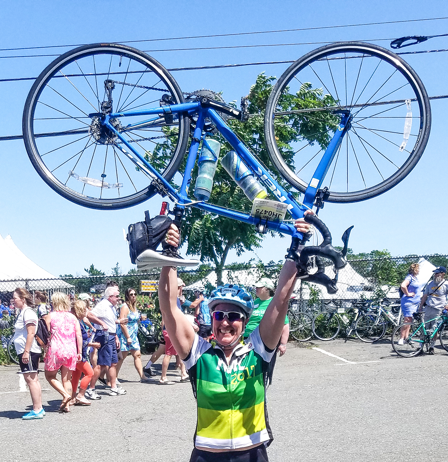 Celebrating at the finish line of the 2017 Pan-Mass Challenge.