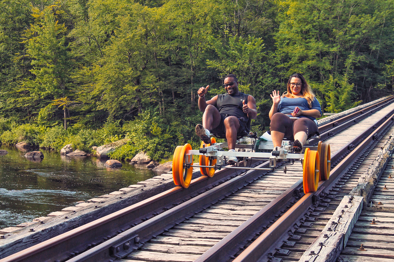 Railbiking with Revolution Rail in North Creek to explore the Hudson River and Adirondacks.  Karl Miller of Velofix Albany