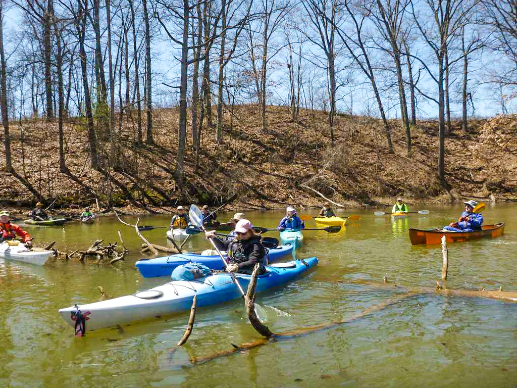 A Capital District Kayakers outing on April 21 at Rensselaer Lake in Albany.   Alan Mapes