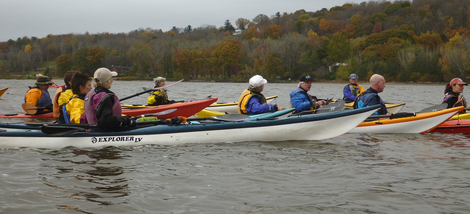 Paddlers take a break on the Hudson near Coxsackie.   Alan Mapes