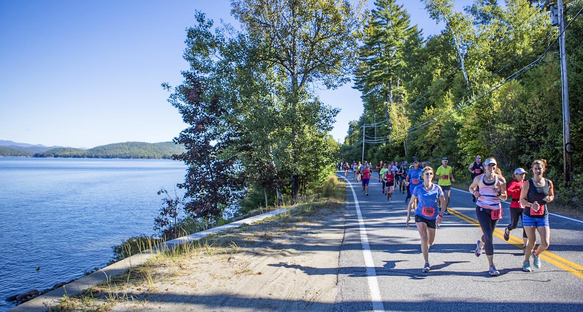 Half Marathon runners along Schroon Lake at the 2017 Adirondack Marathon Distance Festival.  ROOST