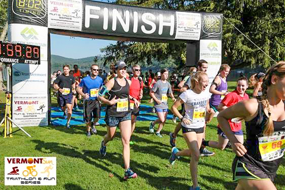 Start of the 2017 Vermont Sun Half Marathon at Branbury State Park at Lake Dunmore.  Vermont Sun