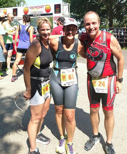 STC members, Darlene Kusaywa, Laura Lewis and Jeremy Davis at 2017 Vermont Sun Triathlon.  Saratoga Triathlon Club