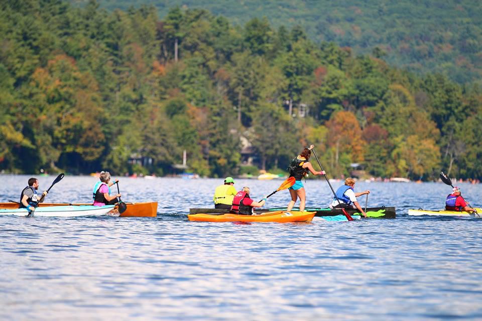 Canoes, kayaks and SUPs paddling galore at 2017 Josh Billings Triathlon.  Brad Herder