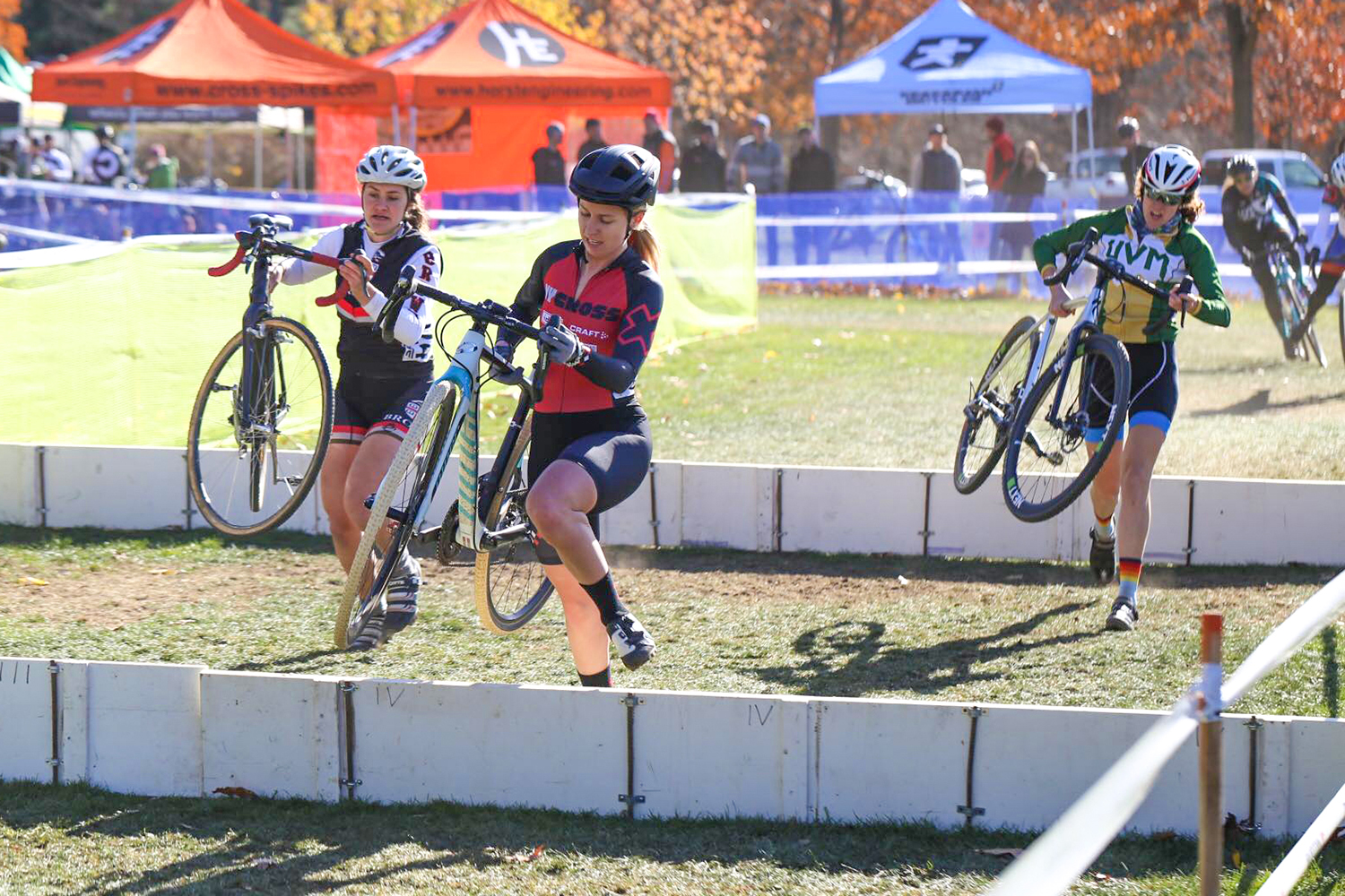 Author Shylah Weber negotiating the barriers at last year's Cycle-Smart International Cyclocross Race in Northampton, Mass.   NYCROSS