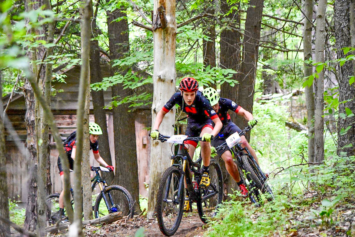 Patrick Frank, Tyler Zierer and Alex Zierer of Niskayuna High School. The trio podiumed in every 2018 race and finished second, third and fourth in the state.   NICA NY