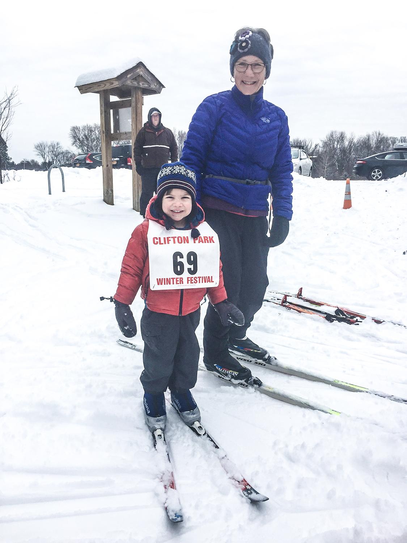 Family skiing at Garnsey Park in Clifton Park, 2017.   Darryl Caron
