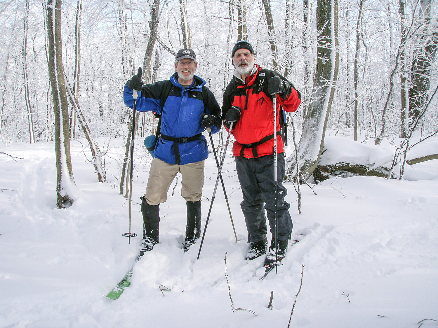 Tom McGuire of Delmar and Steve Burke of Albany enjoy themselves on the Taconic Crest Trail near the Snow Hole.   Rich Macha