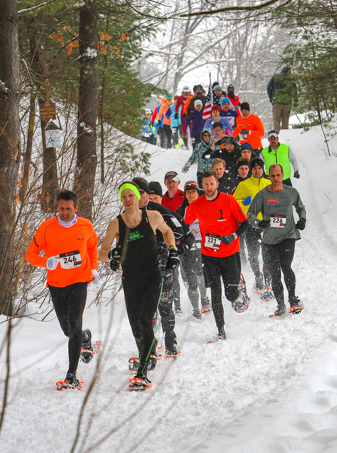 Start of the 2018 Camp Saratoga 8K Snowshoe Race at Wilton Wildlife Preserve & Park.    Brian Teague