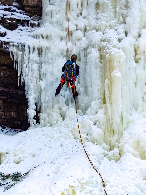 Ice climbing in the Adirondacks.
