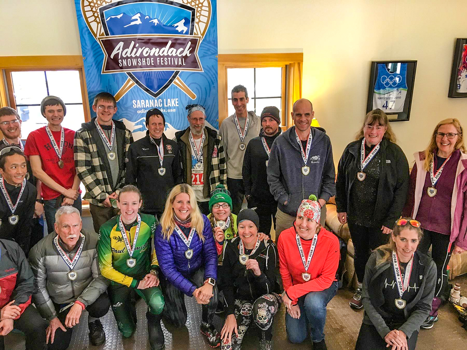 Some award winners from the 2018 Adirondack Snowshoe Fest races at Dewey Mountain in Saranac Lake.