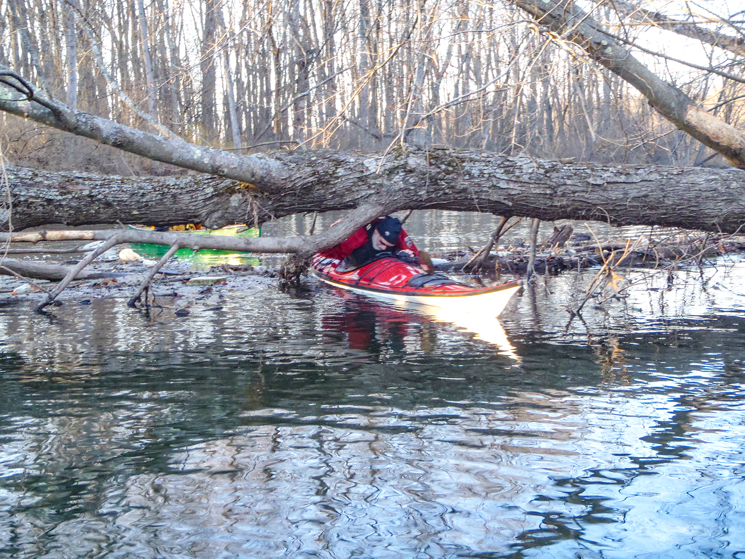 Obstructions are common on the Kayaderosseras Creek below Lake Lonely outlet.   Rich Macha