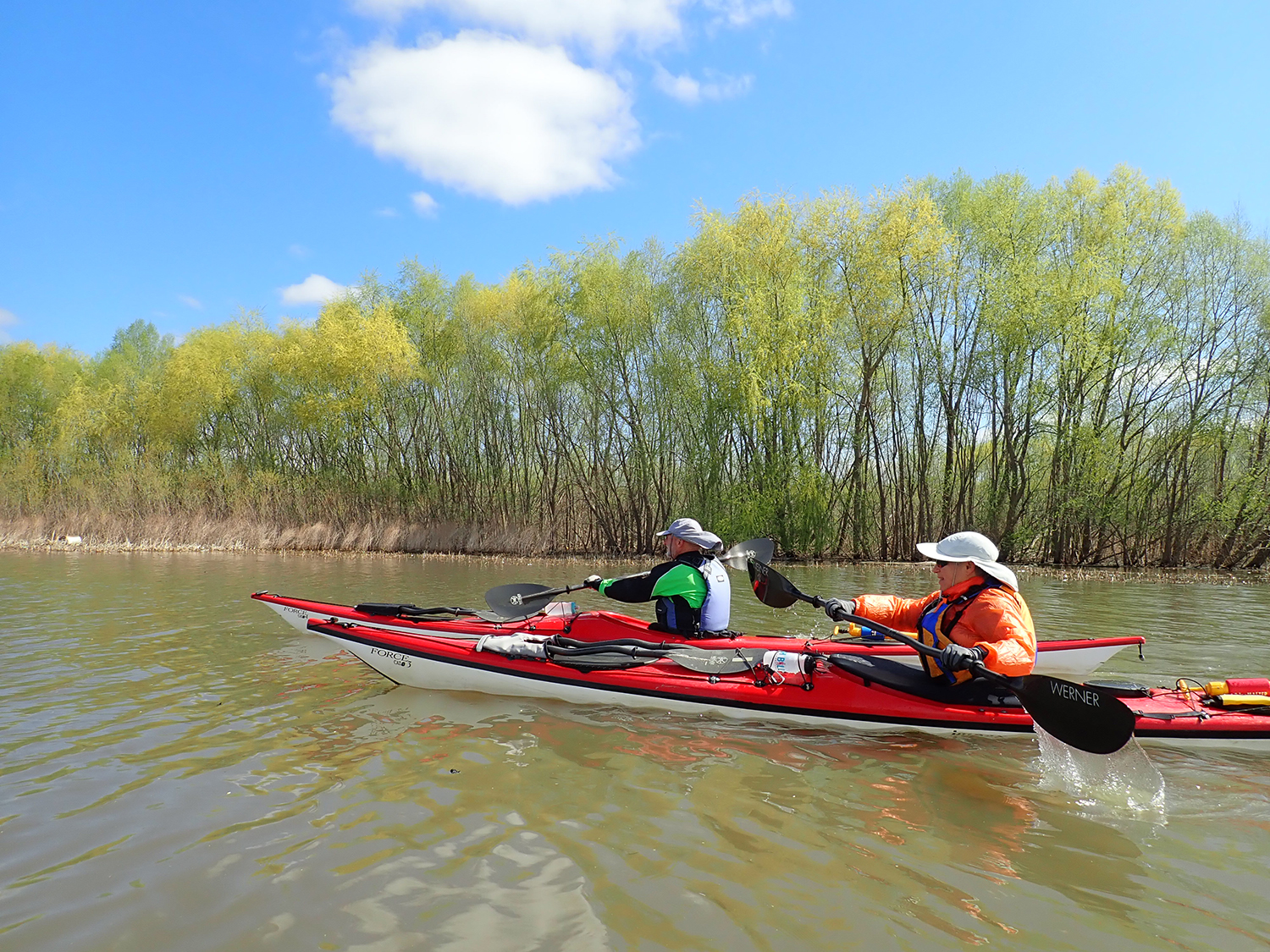 Headed upstream on the Mohawk, enjoying the spring colors.  Alan Mapes