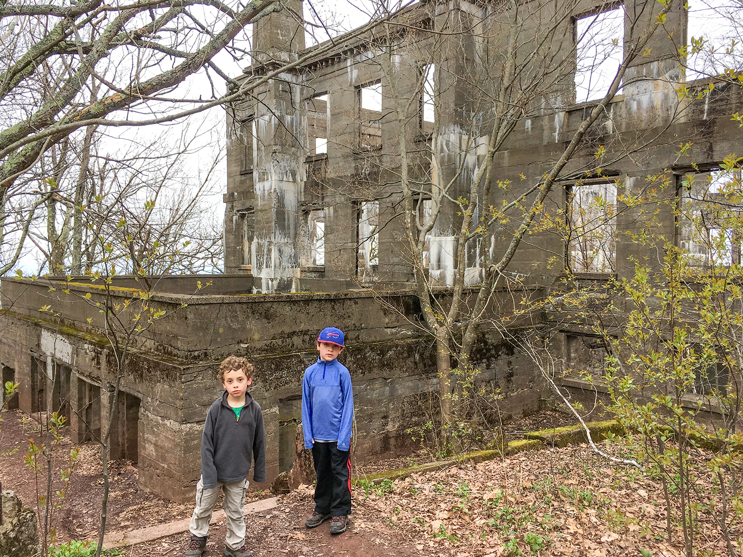 Conor and Theo have fun exploring the ruins.  Tom O'Grady