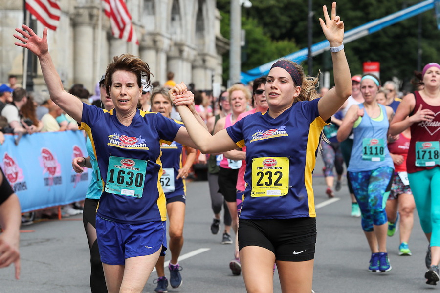 Happy finish at 2018 Freihofer's Run.  Kevin Morris/Times Union