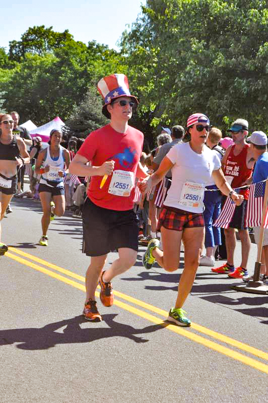 Patriotic couple on the 2018 Firecracker 4 course.