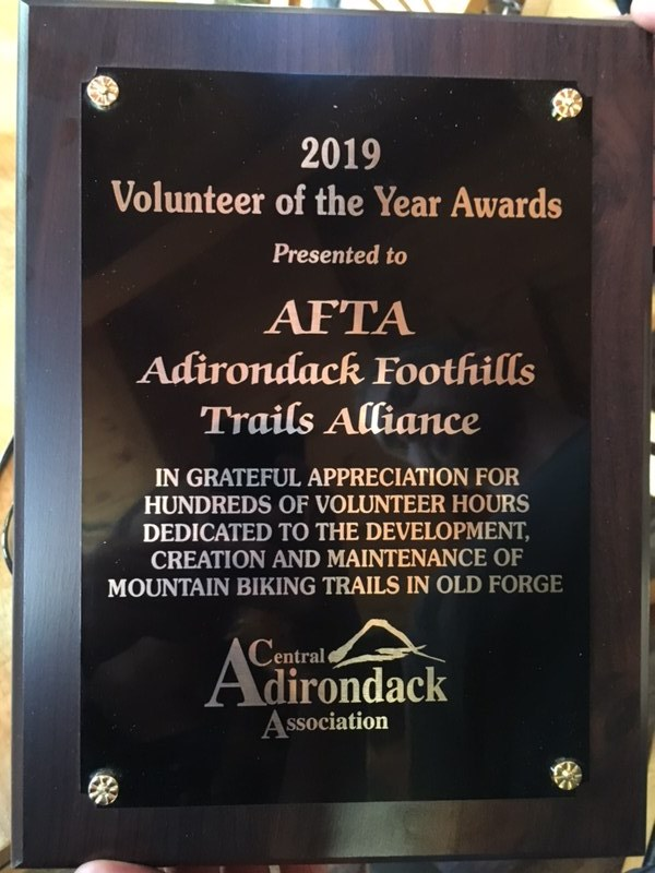 Adirondack Foothills Trails Alliance won the Central Adirondack Association 2019 Volunteer of the Year Award.
