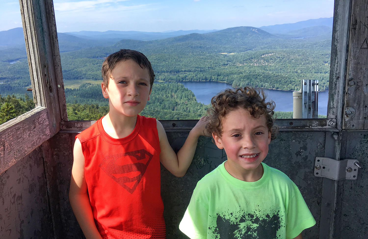 Conor and Theo enjoying fire tower view of Rich Lake.  Tom O'Grady