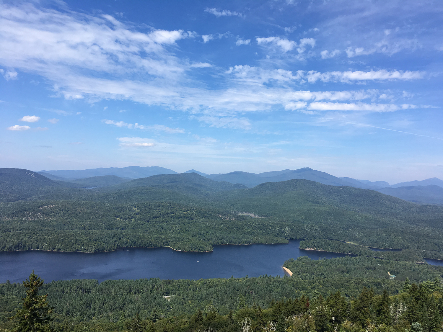 Fire tower north to Rich Lake and High Peaks.  Tom O'Grady