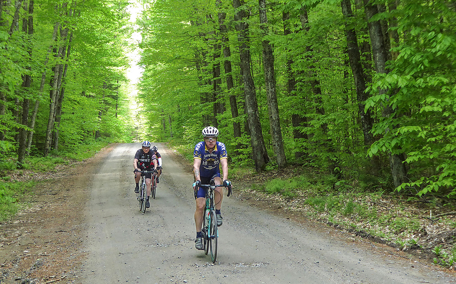 Mark Lurz leads the way on a dirt section of the ride on Browns Tract Road.  Dave Kraus/   KrausGrafik.com