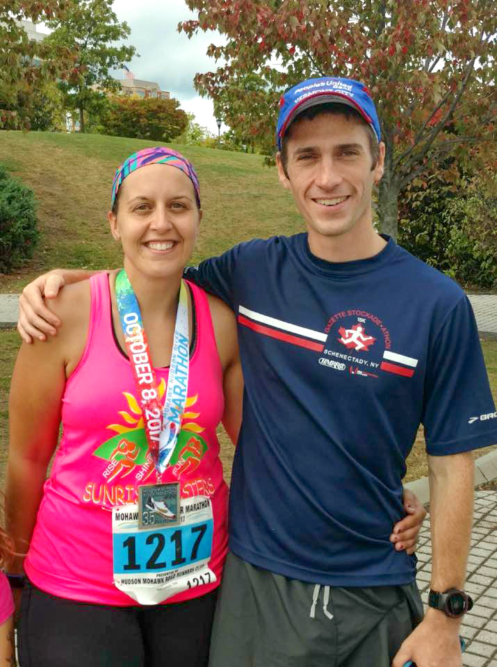 Coach Tom and athlete Liz Thompson after the 2017 Mohawk Hudson River Marathon.