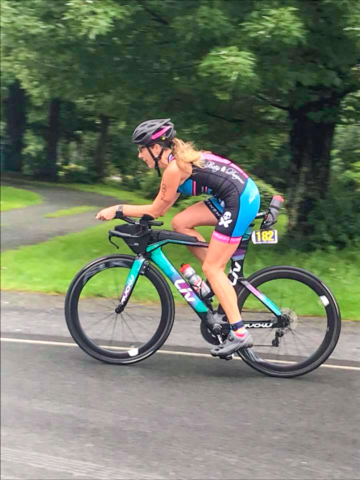 Kelli Schuhl in action at the 2018 Crystal Lake Triathlon.  Capital District Triathlon Club