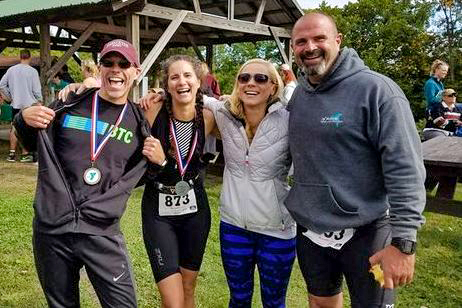 The author and BTC friends after the 2017 Greene County Y Tri.  Tom Denham