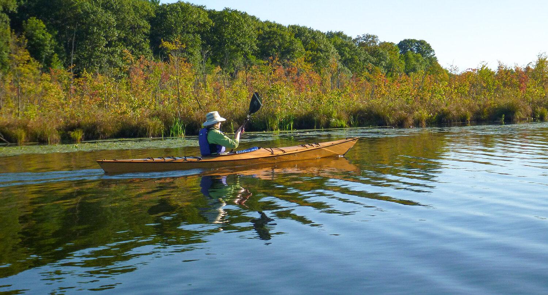 Char Mapes enjoying fall color along Fish Creek, the outlet of Saratoga Lake.   Alan Mapes