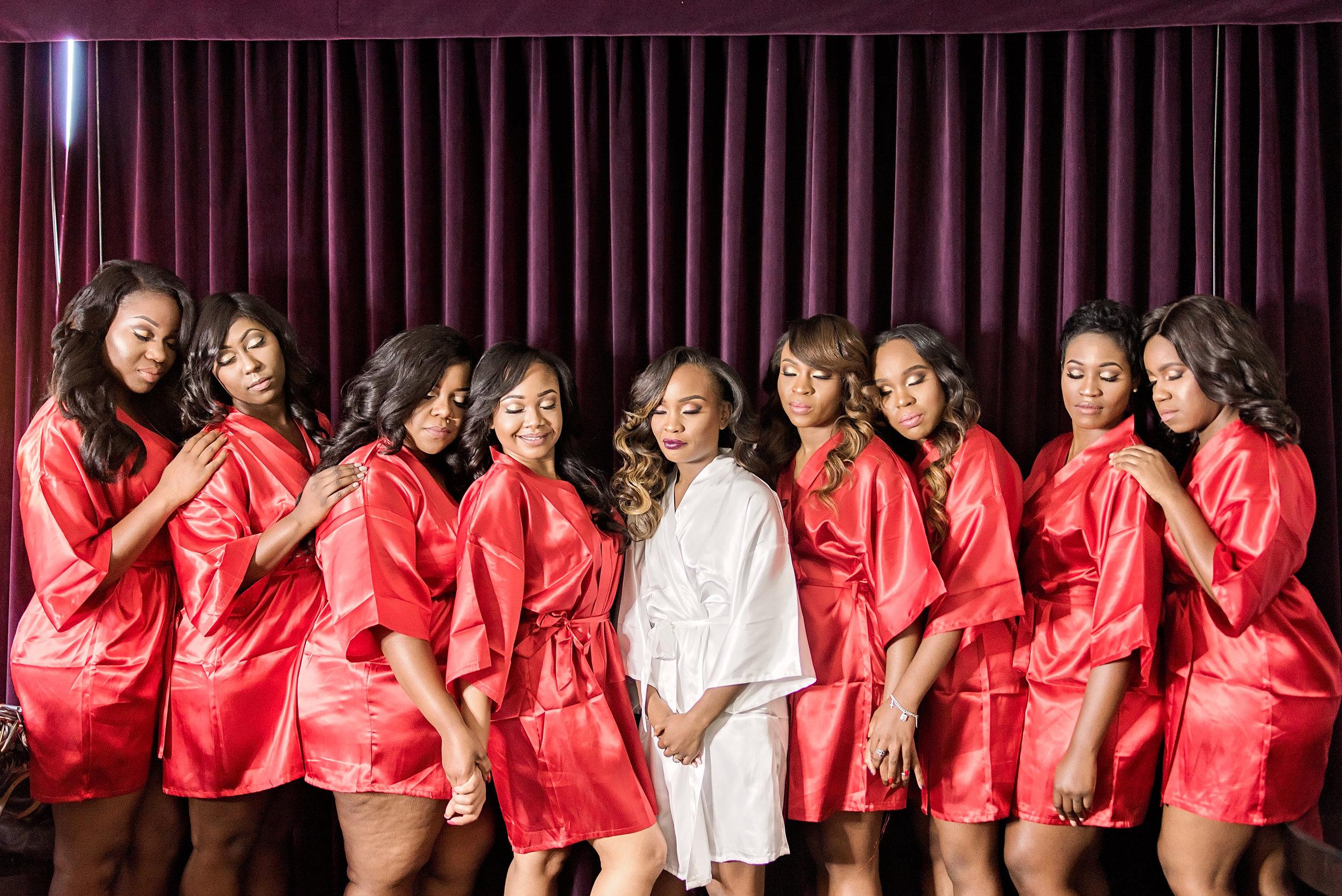Houston Wedding- Texas Photography- Pharris Photography- Nkechi and Elyx- The Crystal Ballroom- Bridesmaids- Bridesmaids Robes