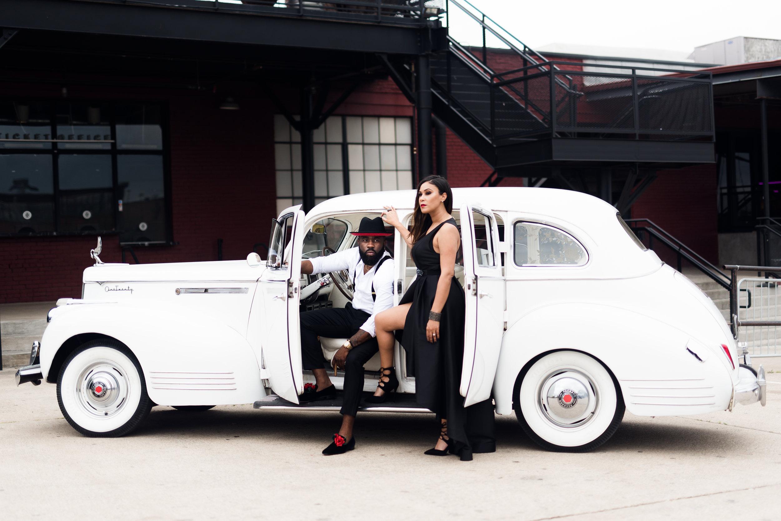 Pharris Photography- Engagement Session- Texa Photography- Dallas Engagement- Kerri and Bravion- NYLO Hotel- Vintage Car
