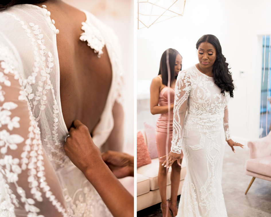 Houston Wedding- Pharris Photography- Kisha + Shaun- Lace Wedding Dress- Bride